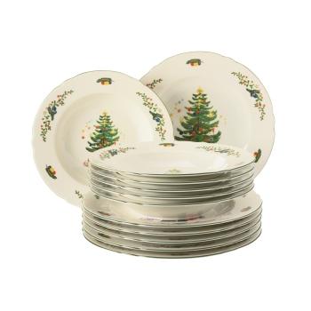 Tafelservice 24-teilig - Seltmann Weiden Marieluise Weihnachten - Speiseteller Suppenteller