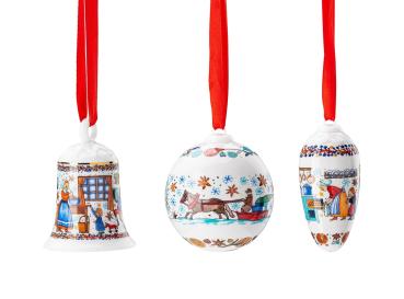Glocke + Kugel + Zapfen 2020 Weihnachtsbäckerei - Hutschenreuther - Porzellan Weihnachten