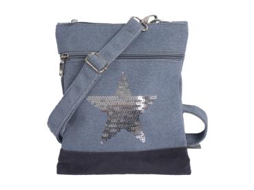 Crossbag Canvas blau Stern - bb-Klostermann 31205 - Tasche Umhängetasche Canvas