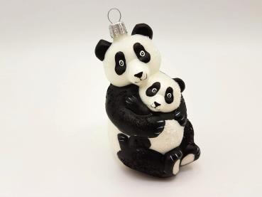 Panda mit Baby - Hanco Design 2545.01 - Christbaumschmuck aus Glas
