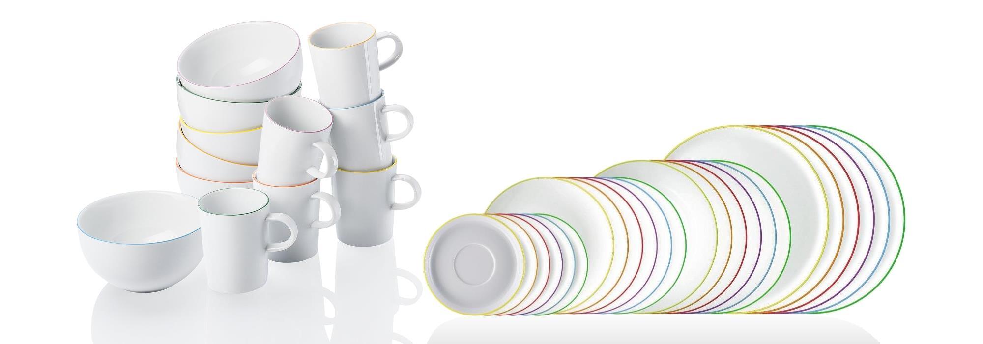 Kombi-Set 36 tlg. mit Henkelbechern und Müslischalen - CUCINA COLORI -  Arzberg - farblich sortiert